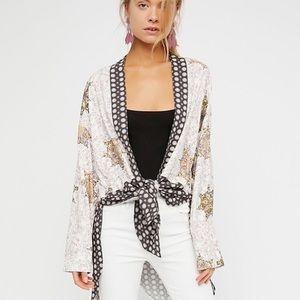 FREE PEOPLE• Forget Me Not Tile Print Tunic Kimono